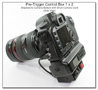PT1027: Pre-Trigger Conrol Box 1 x 2 - Attached to Camera Bottom with Short Camera Cord (Side View)