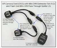 OC1017: Off Camera Cord with Mini-DIN Connector Set and Flash End Mini-DIN Pass Through Splitter