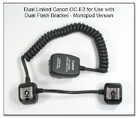 Dual Linked Canon OC-E3 Off Camera Cord for use with Dual Flash Bracket - Monopod Version