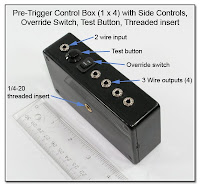 PT1029: Pre-Trigger Control Box (1x4) with Side Controls, Override Switch, Test Button, Threaded Insert