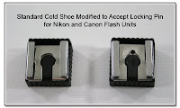 PJ1070: Standard Cold Shoe Modified to Accept Locking Pin for Nikon and Canon Flash Units