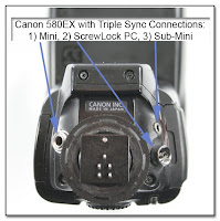 AS1004: Canon 580EX with Triple Sync Connections: 1) Mini Jack (3.5mm), 2) ScrewLock PC Jack, and 3) Sub-Mini Jack (2.5mm)