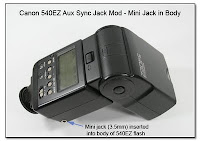 AS1007: Canon 540EX Aux Sync Jack Mod - Mini Jack Added into Body of Flash