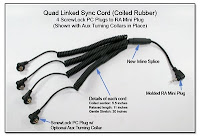 Quad Linked Sync Cor (Coiled Rubber) - 4 ScrewLock PC Plugs to Molded RA Mini Plug with Aux Turning Collars and Inline Splice