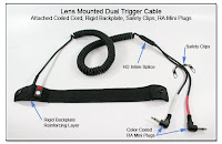 LT1011a: Lens Mounted Dual Trigger cable w/ Attached Coiled Cord, Rigid Backplate, Safety Clips, RA Mini Plugs
