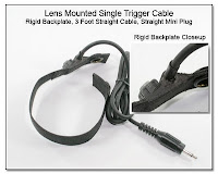 LT1001b: Lens Mounted Single Trigger Cable - Rigid Backplate, 3 foot Straight Cable, Straight Mini Plug