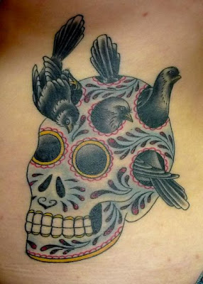 Skull and Bird Tattoo