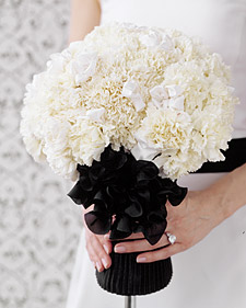 black and white carnationbouquet l افكار بتداخل الالوان الأبيض والاسود كروت وصالات وكوش 2014