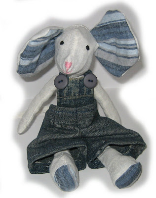 mouse, handmade, dungarees, blue, buttons, sewn, sewing, toy, denim,white, cute