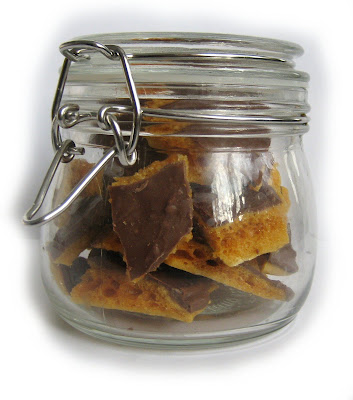 yum, honeycomb, cinder toffee, chocolate, made, homemade, jar
