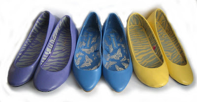flat pump shoes - shoes, clothes, fashion, yellow, purple, blue, pointed, flats, rounded, pumps, ballet shoes