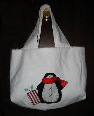handmade, christmas, bag, wrapping, xmas, penguin, applique, sewing, sewn, present, gift, gift bag, scarf, winter