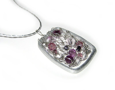 necklace, beads, purple, wire,knit, seed, pendant, silver