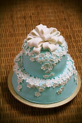 Blue &amp; White Cake