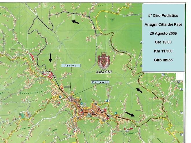 Cartina del 5° Giro podistico Anangni Città dei Papi