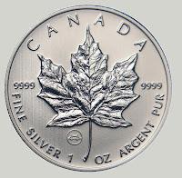 Maple leaf silver kanada srebrnik kanadski srebr tuba 25 kosov 1 oz  9999 čist srebro royal mint