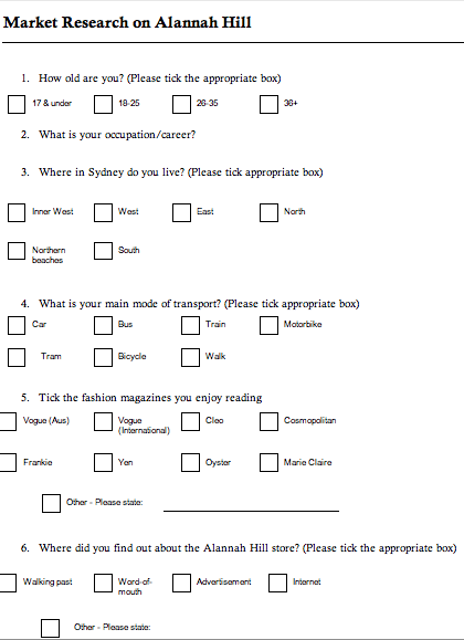 survey questions template