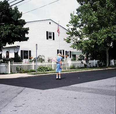 'Old woman and American flag', Oceanside, Long Island, August 2008, copyright PDB