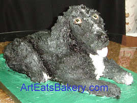 Black and white 3D dog birthday cake