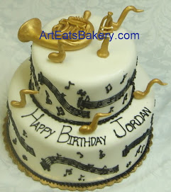 Music lovers two tier fondant birthday cake