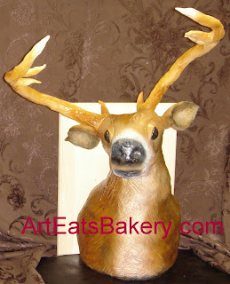 Fondant deer head Groom cake with fondant antlers