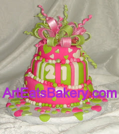 Neon pink and green Topsey turvy birthday cake