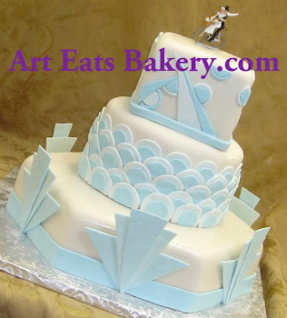 Custom art deco three tier fondant wedding cake