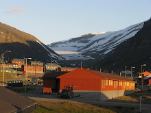 View from my bedroom window at Basecamp Longyearbyen - at 20 minutes after midnight!