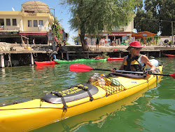 Marie ready to kayak out of Dalyan town