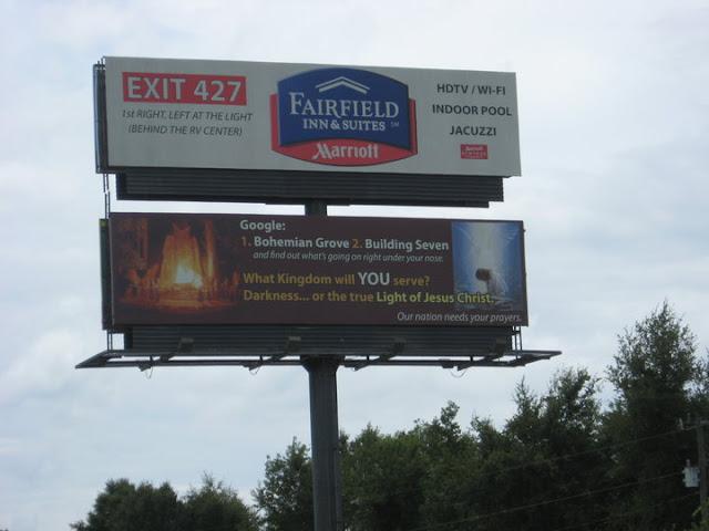 Bohemian Grove billboard on I-75