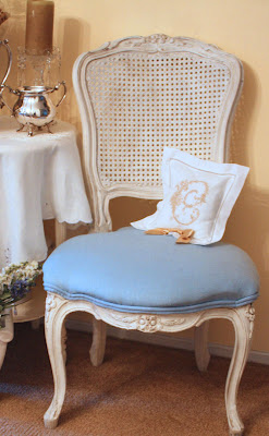 Recover Chairs with Stenciled Drop cloth Fabric - Plum Doodles |