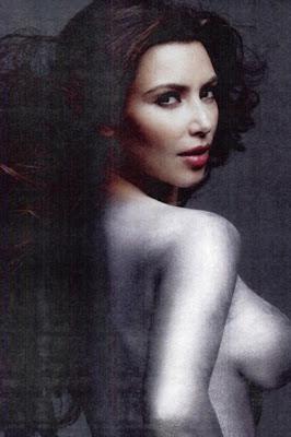 Kardashian Silver Paint on Nsfw  Topless Kim Kardashian With Silver Paint Body Photoshoot On W