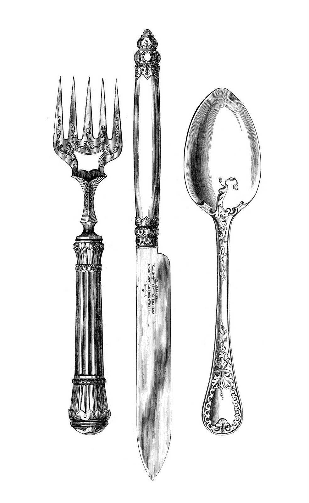 kitchen pictures art on ... The Graphics Fairy LLC*: Vintage Kitchen Clip Art - Fork, Knife, Spoon