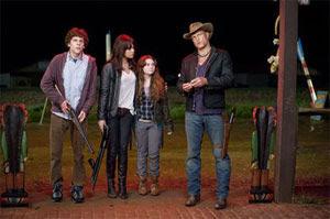 Jesse Eisenberg, Emma Stone, Abigail Breslin y Woody Harrelson en Bienvenidos a Zombieland