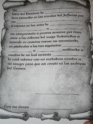 Ficha de personaje del juego de rol La Torre de Rudesindus.