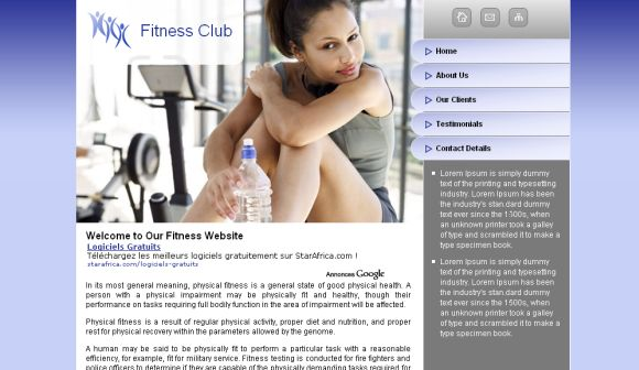 Free Web Template Sexy Fitness Website Template