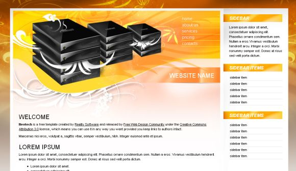 Free Web Template - Web Hosting Orange Template