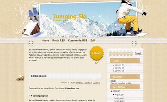 Free Blogger Jumping Ski Sport Web2.0 Template