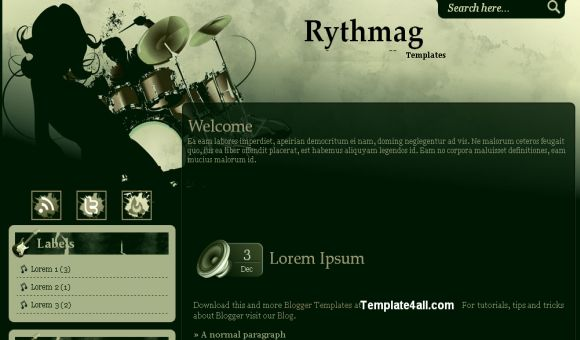 Free Dark Green Black Music Blogger Template