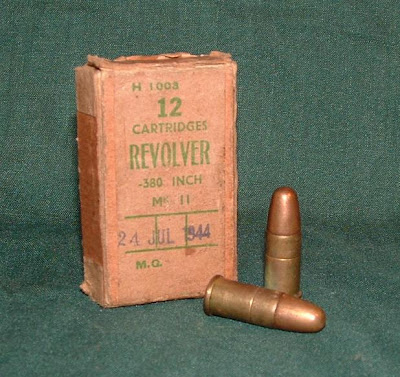 "A box of World War II dated .380"" Revolver Mk IIz cartridges. World War II"