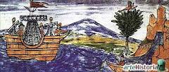 Indígena espiando a Hernán Cortés.