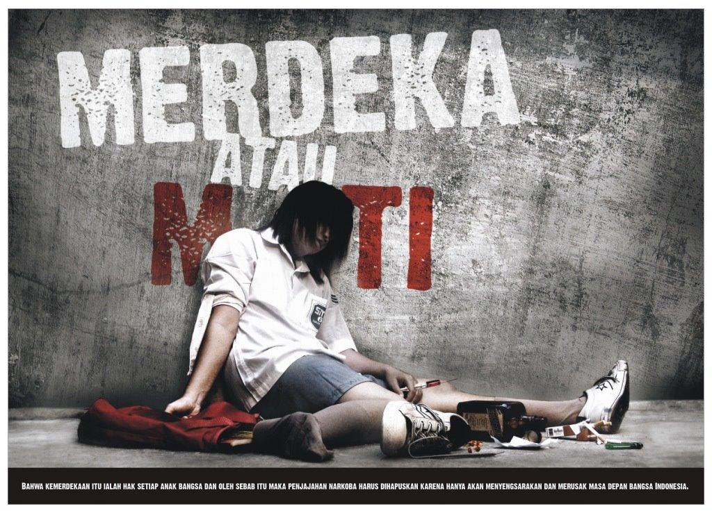 poster narkoba merdeka atau mati narkoba merdeka dari narkoba narkotik