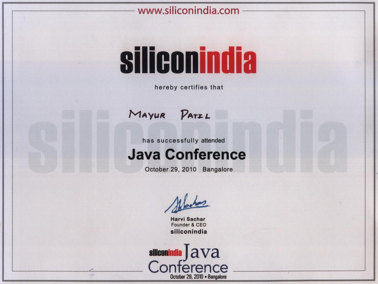 Java Conference October 29 Certificate