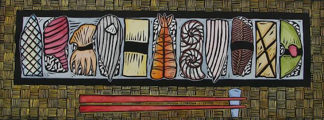 Linocut, hand colored