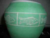 Green Jar with Fish Etching Pre-Fired