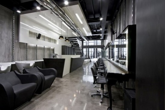 The Overall Space At This Salon Interior Is Done By Combining Two Elements And Those Are Existing Shell With An Industrial Character New Free Form