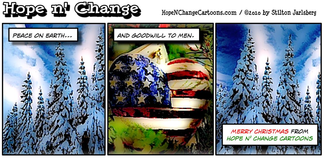 Merry Christmas from Hope n' Change Cartoons, hope and change, stilton jarlsberg
