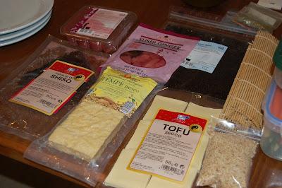 Algunos de los ingredientes utilizados para elaborar sushis veganos