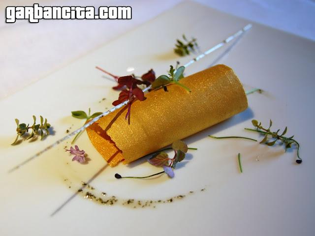 Ensalada de foie, menta y oro