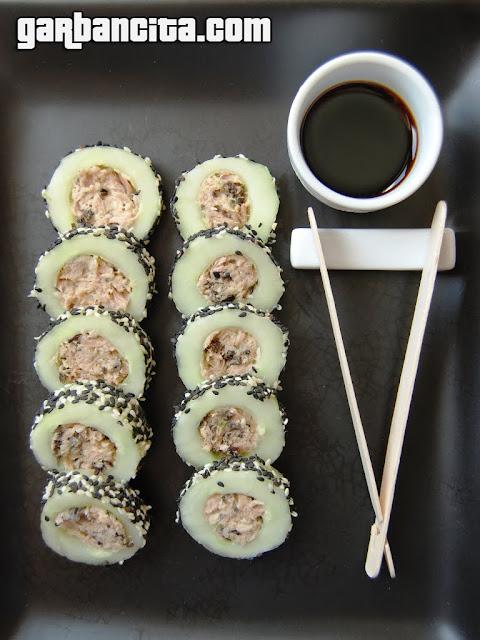 Sushi de pepino y atún